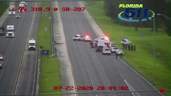 The Wednesday night crash scene on I-95 near State Road 207 after a man fleeing from South Florida crashed after St. Johns County deputies used stop sticks, then apparently shot himself, the Sheriff's Office said.