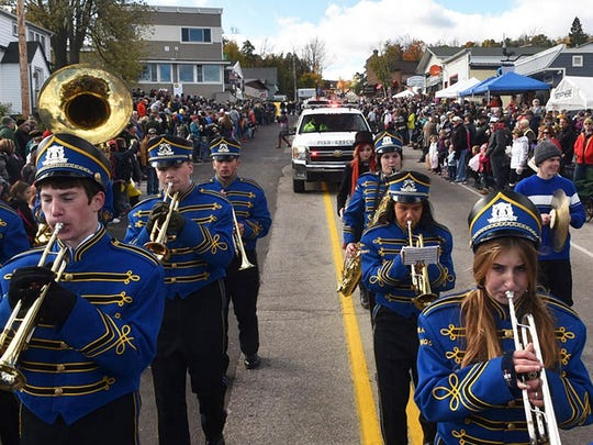 The Gibraltar School Marching Band heads down Wisconsin 42 during Sister Bay Fall Fest parade. The band is returning to march in this year's festival parade, starting at 11 a.m. Saturday.