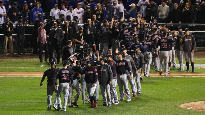 CHICAGO, IL - OCTOBER 29:  The Cleveland Indians celebrate after beating the Chicago Cubs 7-2 in Game Four of the 2016 World Series at Wrigley Field on October 29, 2016 in Chicago, Illinois.  (Photo by Jonathan Daniel/Getty Images) ORG XMIT: 678125739 ORIG FILE ID: 619129960