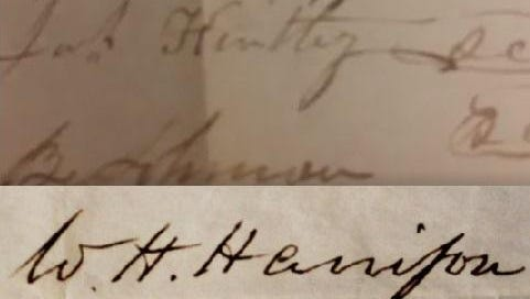Above, a still from the Periscope video from Boone County Clerk Kenny Brown showing William Henry Harrison's signature. Below, an image from a document Harrison signed as president.