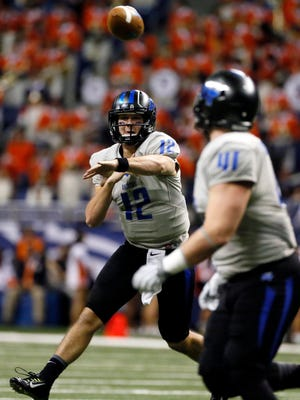 Nov 28, 2015; San Antonio, TX, USA; Middle Tennessee Blue Raiders quarterback Brent Stockstill (12) throws the ball during the first half against the UTSA Roadrunners at Alamodome. Mandatory Credit: Soobum Im-USA TODAY Sports