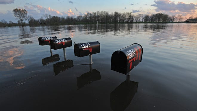 Mail boxes along flooded Highway 71 in south Bossier Parrish.