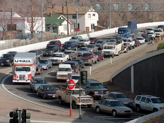 Traffic snarls at the I-80 off-ramp eastbound at McCarran