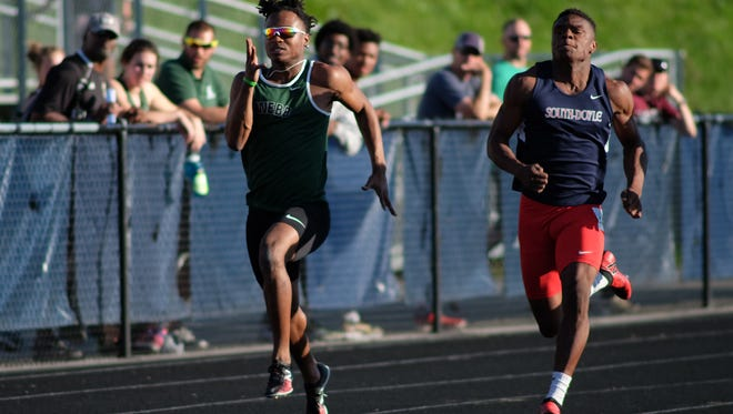 Webb's Elijah Howard, left, and South Doyle's Elijah Young race in the 100 during the KIL track meet at Hardin Valley Academy in Knoxville on Tuesday, May 1, 2018.