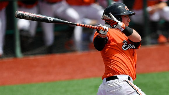 Oregon State catcher Logan Ice in the Pac-12 Defensive