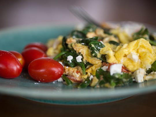 Polly Campbell creates a healthy breakfast with eggs,