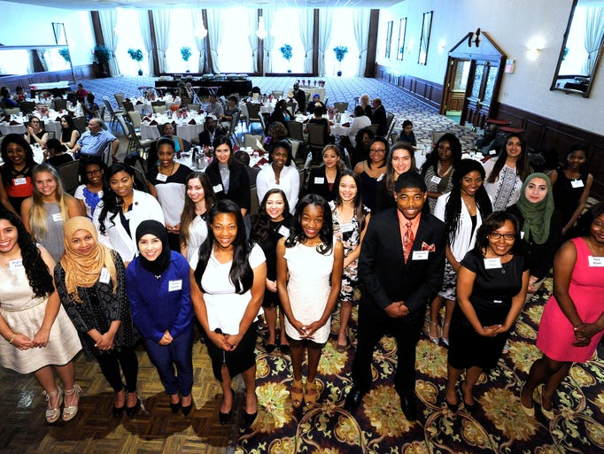 Rosa Parks scholarship recipients. Front row, L-R:
