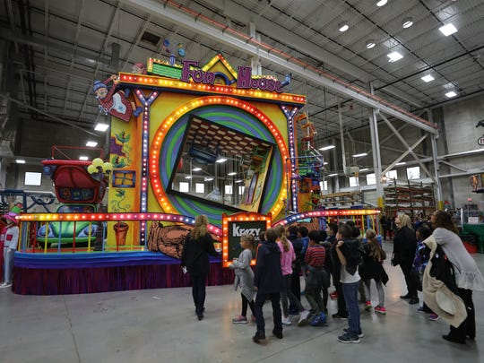 "Macy's will unveil four new floats for this years Thanksgiving Day Parade. This one, sponsored by Krazy Glue, is called ""The Fun House."""
