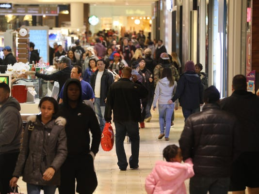 Holiday shoppers at Westfield Garden State Plaza.