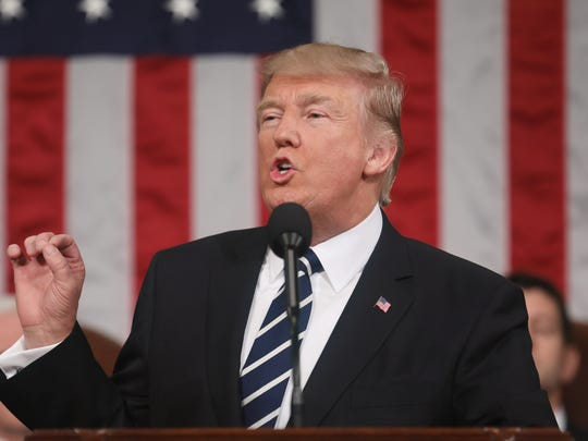 President Donald Trump addresses a joint session of the U.S. Congress in the House chamber of the U.S. Capitol in Washington on Tuesday, Feb. 28, 2017.