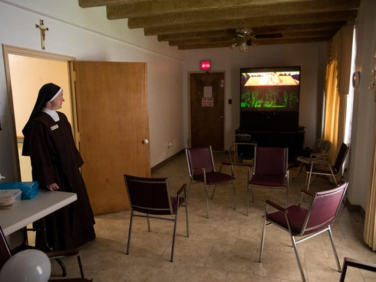 Sister Mary Joseph stands in the current recreation room at Mount Carmel Assisted Living. Mount Carmel will be closing on July 31st after 65 years of operation in Corpus Christi.