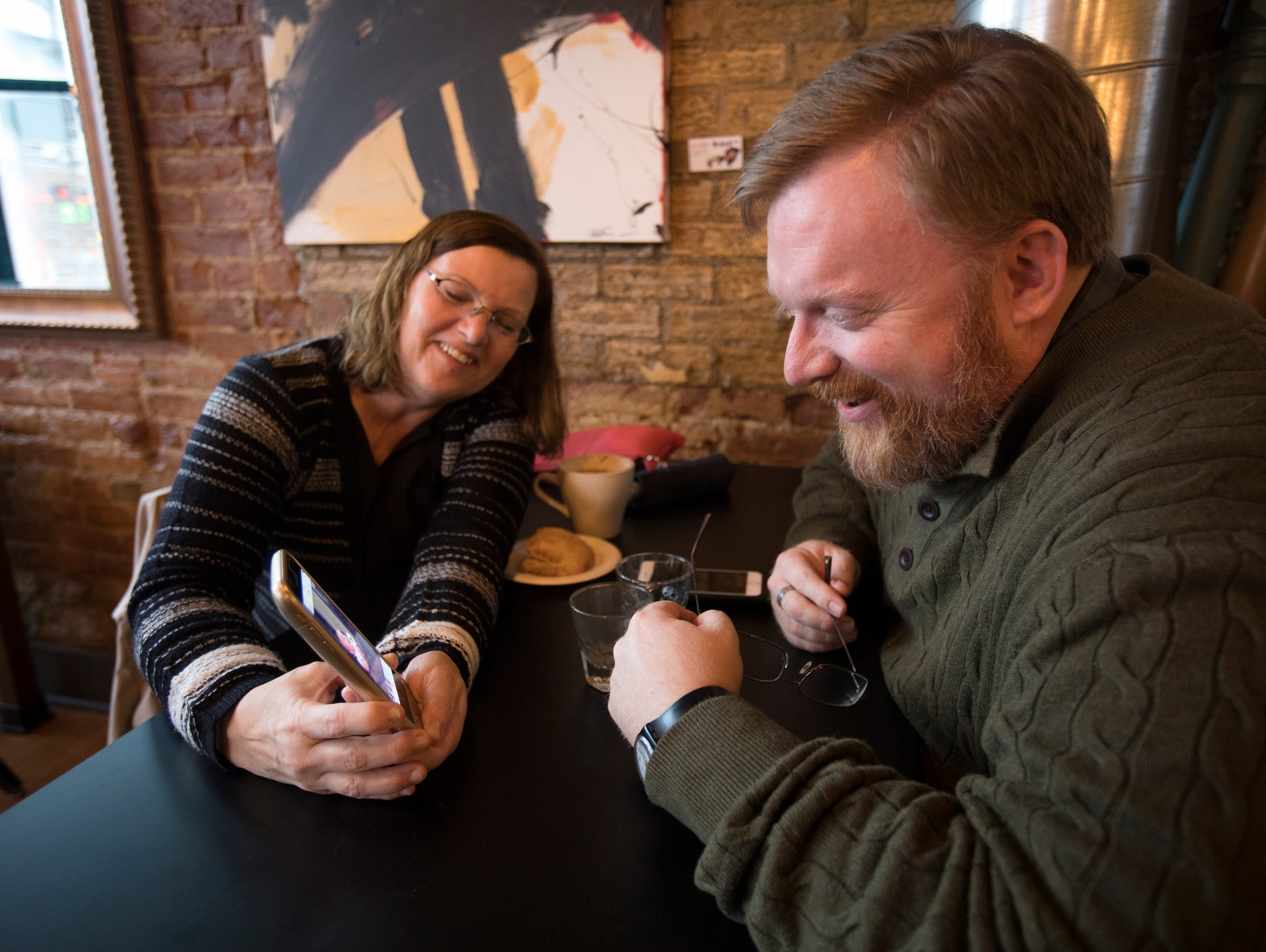 Michael meets with Cathy Campbell at a Dayton coffee