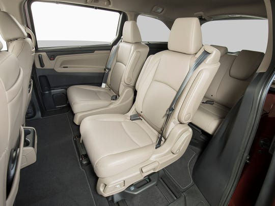The second row of seats in the Honda Odyssey can slide