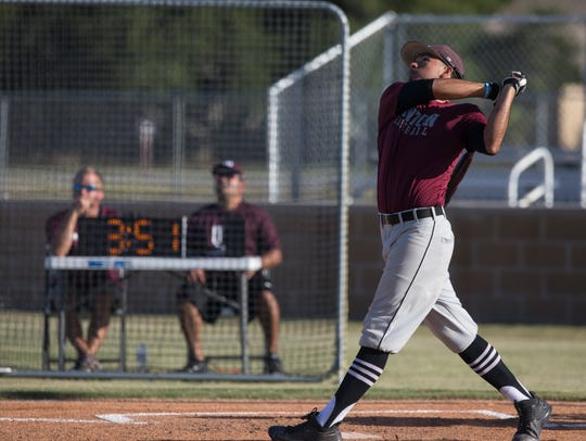 Sinton's Jordan Martinez hits a home run during the