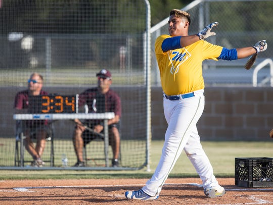 Moody's Marcus Cantu hits a home run during the annual