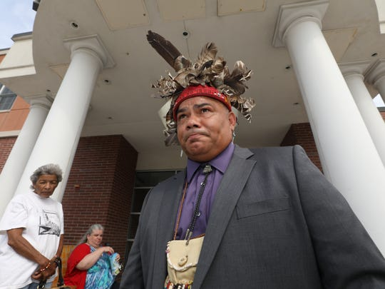 Vincent Mann, Chief of the Ramapough Turtle Clan, outside the Mahwah Municipal Building after meeting with Mayor Bill Laforet on July 20, 2017.