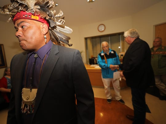 Vincent Mann, Chief of the Ramapough Turtle Clan, after meeting with Mahwah Mayor Bill Laforet, far right,on July 20, 2017.