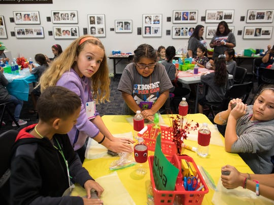Students make clay turtles during Corpus Christi Independent School District and Corpus Christi Public Libraries summer reading camp on Thursday, July 20, 2017.