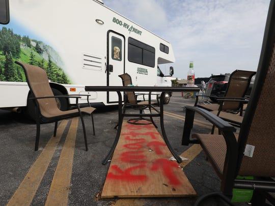 In Marathon in the Florida Keys, a rental RV parked