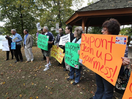 A group gathered at Terhune Park over looking the cleanup