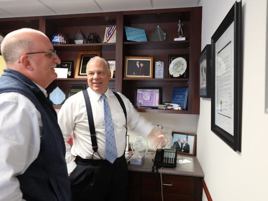 Senate President Stephen Sweeney in his office being interviewed by Charlie Stile about the tenure of Governor Chris Christie.