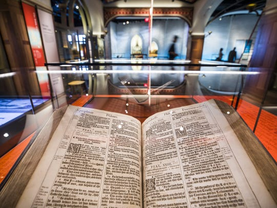 A King James Bible dating to 1617 displayed at the
