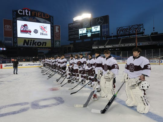 Don Bosco during the National Anthem to start the game.