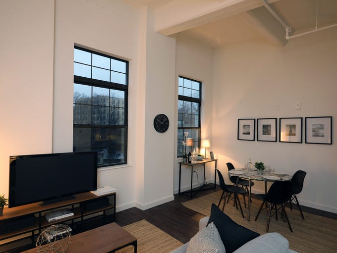 The interior space of a studio apartment at the new