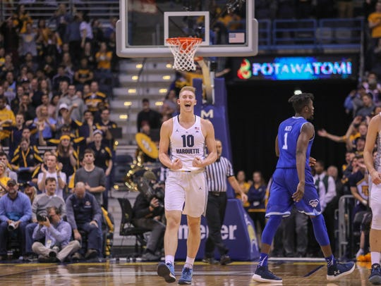 Former SPASH standout Sam Hauser has had a lot to celebrate in his first season and a half with the Marquette men's basketball team, including a trip to the NCAA tournament as a freshman last season.