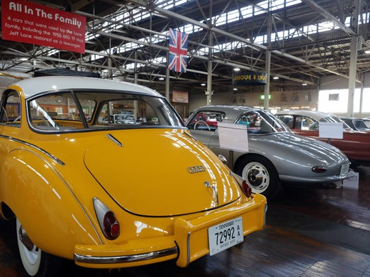 A 1958 DKW Auto Union 1000, far left, a 1958 DKW Monza, center, and a 1962 Auto Union 1000SP are on display at the Lane Motor Museum on Jan. 23, 2018.