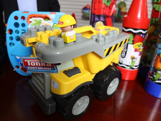 A Tonka-themed construction set is one of the toys Amloid will be showing at Toy Fair.