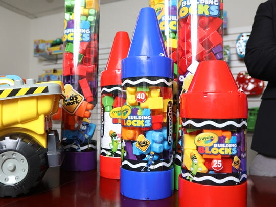 Building blocks with Crayola colors, one of the toys developed and sold by Amloid.