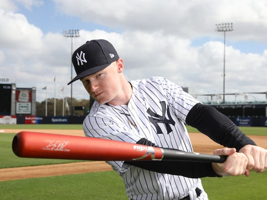 Clint Frazier one of the portraits of this season's New York Yankees taken at George Steinbrenner Field as part of Spring Training.