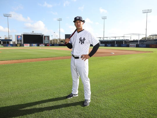 Gleyber Torres one of the portraits of this season's New York Yankees taken at George Steinbrenner Field as part of Spring Training.