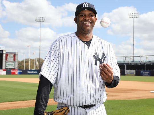 Pitcher, CC Sabathia one of the portraits of this season's New York Yankees taken at George Steinbrenner Field as part of Spring Training.