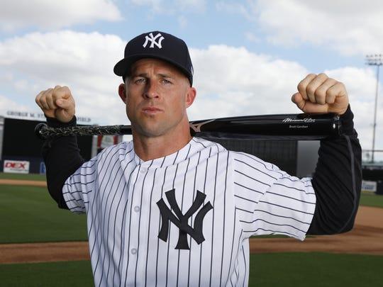 Brett Gardner one of the portraits of this season's New York Yankees taken at George Steinbrenner Field as part of Spring Training.