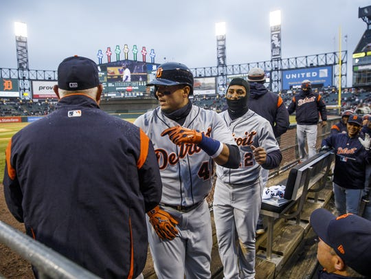 The Detroit Tigers' Victor Martinez (41) returns to