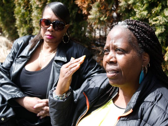 Rhonda Payne of Spring Valley and Vanessa Green of Woodbury in New City on April 9, 2018, talk about the demonstration they helped organize at the Mario Cuomo Bridge in Nyack on Saturday.