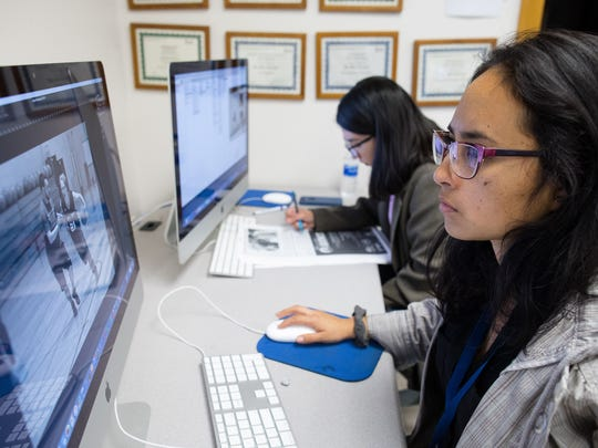 Josselyn Obregon edits her photo for the Foghorn newspaper in the Del Mar College newspaper lab Thursday, April 19, 2018.