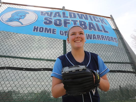 On Deck with Waldwick pitcher Ashley Buschgans.