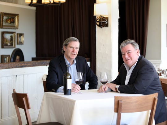 John Crabtree, left, proprietor of the Crabtree's Kittle House Restaurant & Inn, and chef/owner Peter X. Kelly of Xaviars Restaurant Group at the Crabtree Kittle House in Chappaqua April 24, 2018. The two are celebrating milestones in the business. Kelly, opened his first restaurant 35 years ago and Crabtree has been running his family-owned property for 37 years.