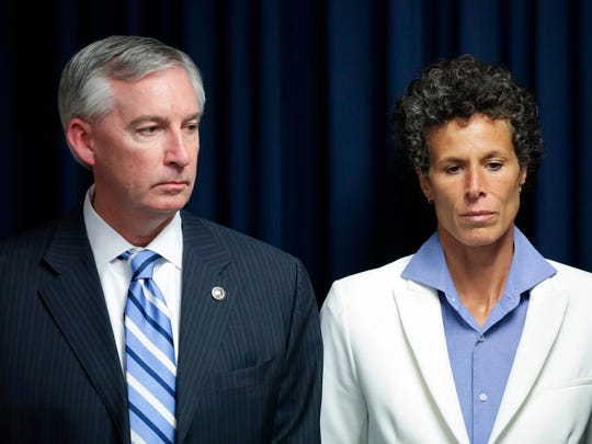 Andrea Constand, the main accuser in the Bill Cosby sexual-assault retrial, with Montgomery County District Attorney Kevin Steele after Cosby was convicted in Norristown, Pa., on April 26, 2018