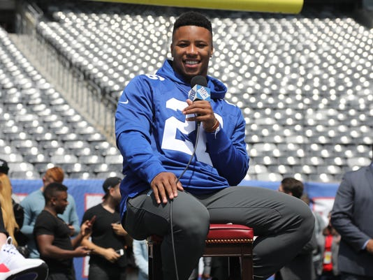 The New York Giants introduce their first round draft pick, running back Saquon Barkley of Penn State.