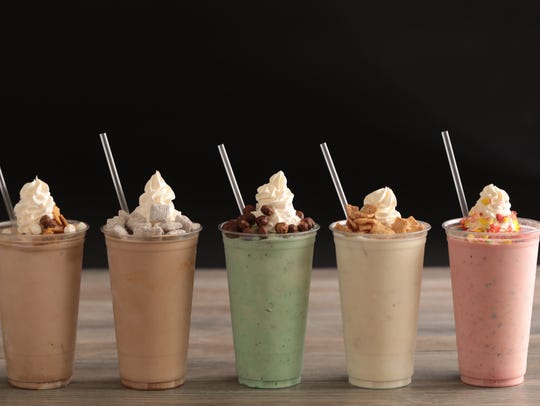 An assortment of cereal shakes (milkshakes with cereal
