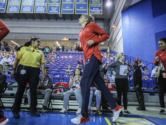 Washington Mystics forward Elena Delle Donne (11) takes the floor to warm up for a WNBA preseason basketball game between the Indiana Fever and the Washington Mystics on Saturday, May. 12, 2018, at the Bob Carpenter Sports Convocation Center in Newark.