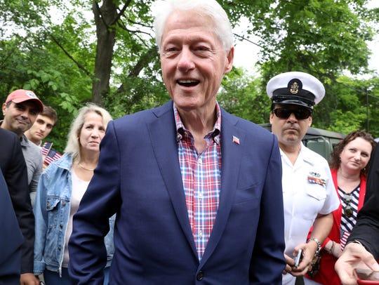 Former President Bill Clinton arrives for the New Castle