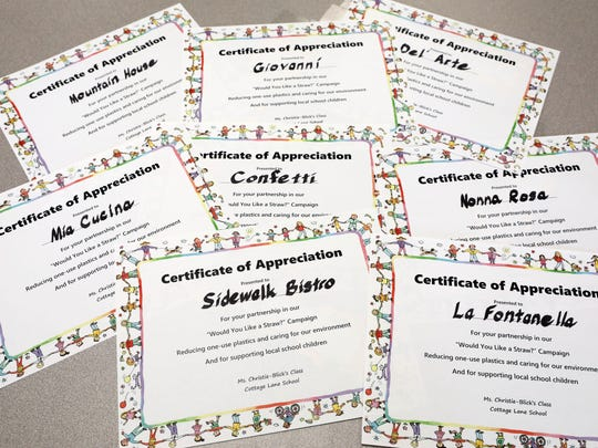 Certificates for the restaurant's that have agreed