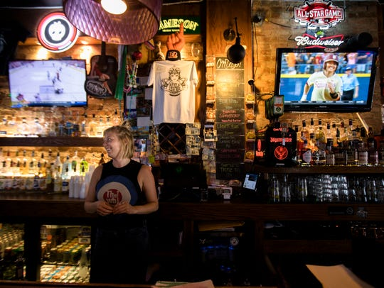 Sam Carmine works the bar at Gypsy's on Thursday, June
