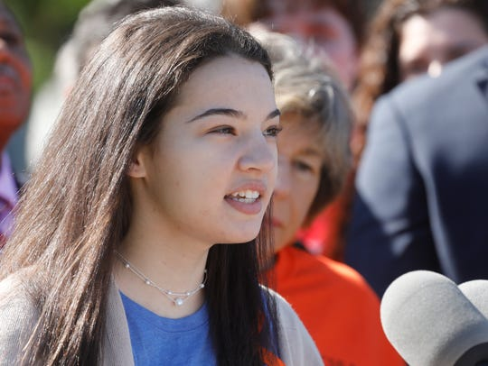 Senior Kelly Marx spoke at Gov. Andrew Cuomo's news