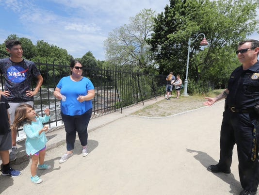 Paterson police chief Troy Oswald tours areas in Paterson where he is going to launch economic-development-oriented police walking patrols in July.